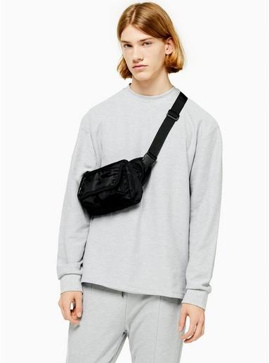 Twill-Sweatshirt mit Viertelreißverschluss, grau, GRAU