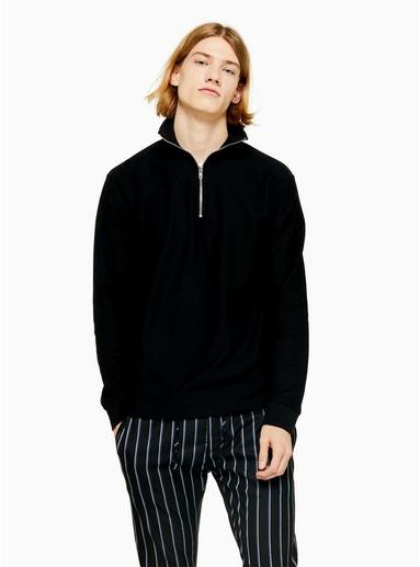 Twill-Sweatshirt mit Viertelreißverschluss, schwarz, SCHWARZ