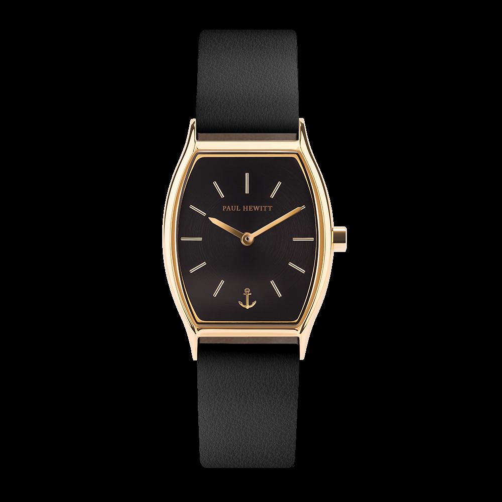 Uhr Modern Edge Line Black Sunray IP Gold Lederarmband Schwarz