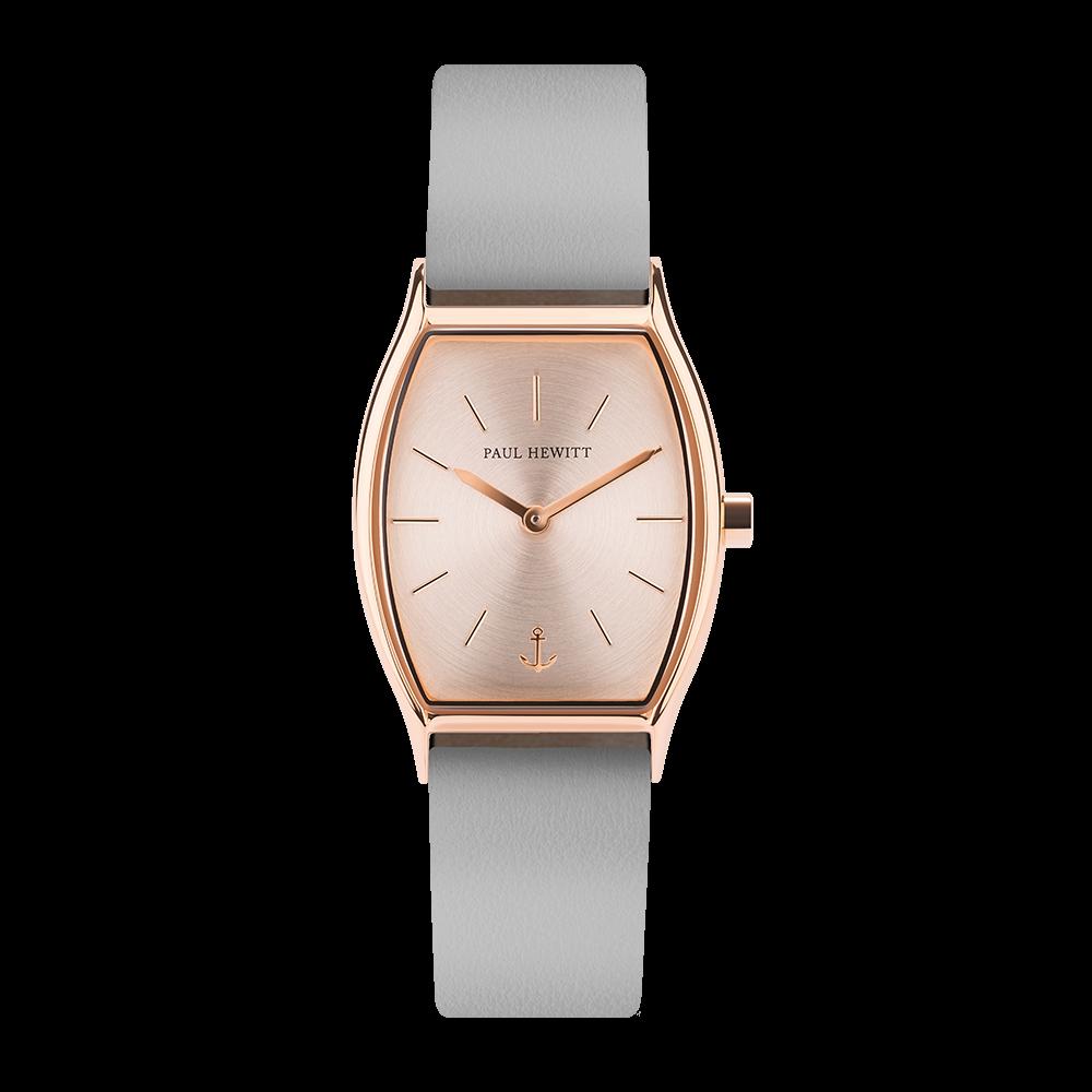Uhr Modern Edge Line Rose Sunray IP Roségold Lederarmband Graphite