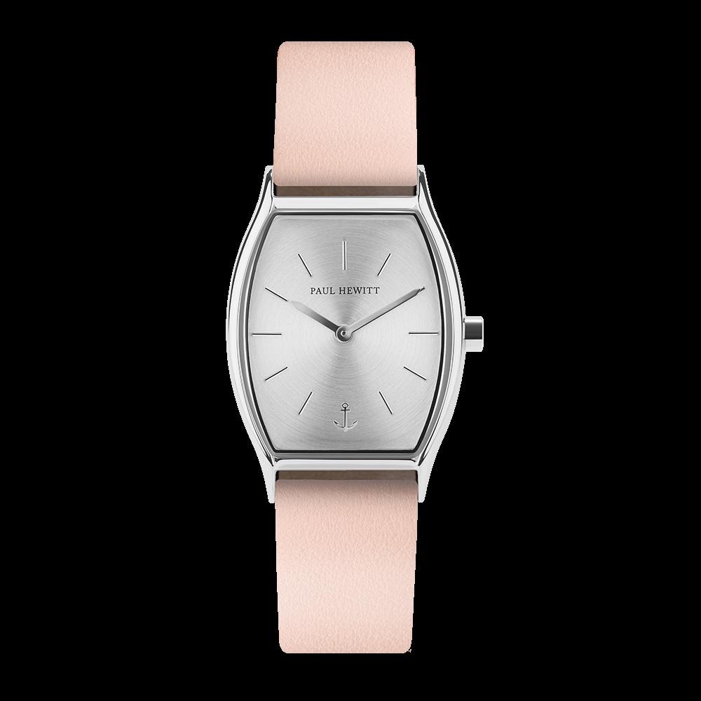 Uhr Modern Edge Line Silver Sunray Edelstahl Lederarmband Nude