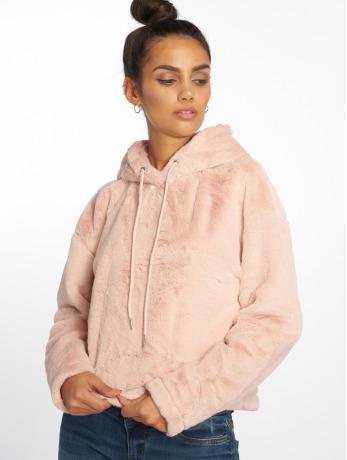 Urban Classics Frauen Hoody Oversize Short Teddy in rosa