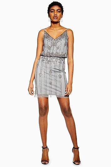 **Verziertes Kleid von Lace & Beads - Grau