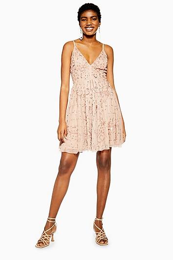 **Verziertes Kleid von Lace & Beads - Nerz