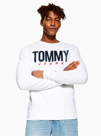 WEIßTOMMY JEANS Sweatshirt mit großem Logo in der Mitte, WEIß