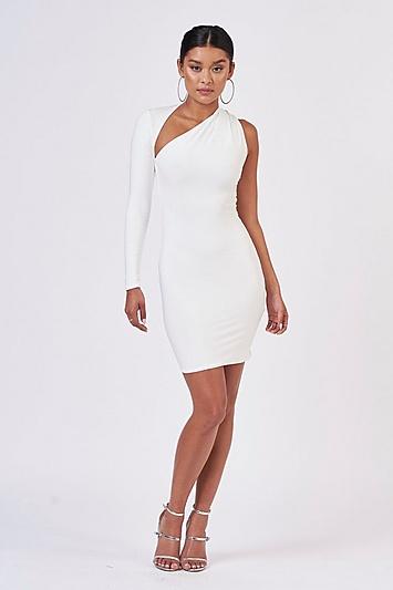 **Weißes, einschultriges Kleid von Club L