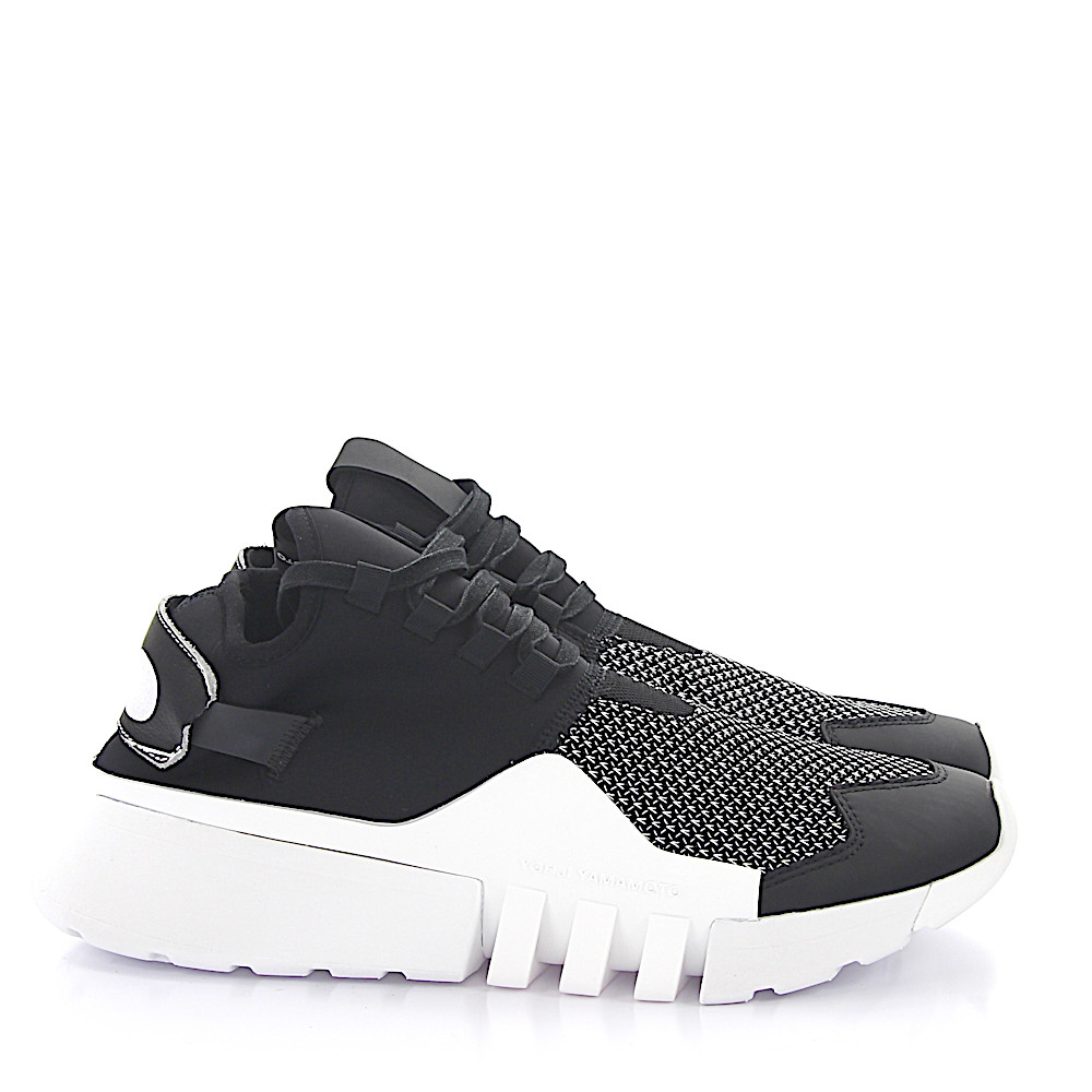 Y-3 Sneaker high Elastan Mesh Rindsleder Logo schwarz weiß