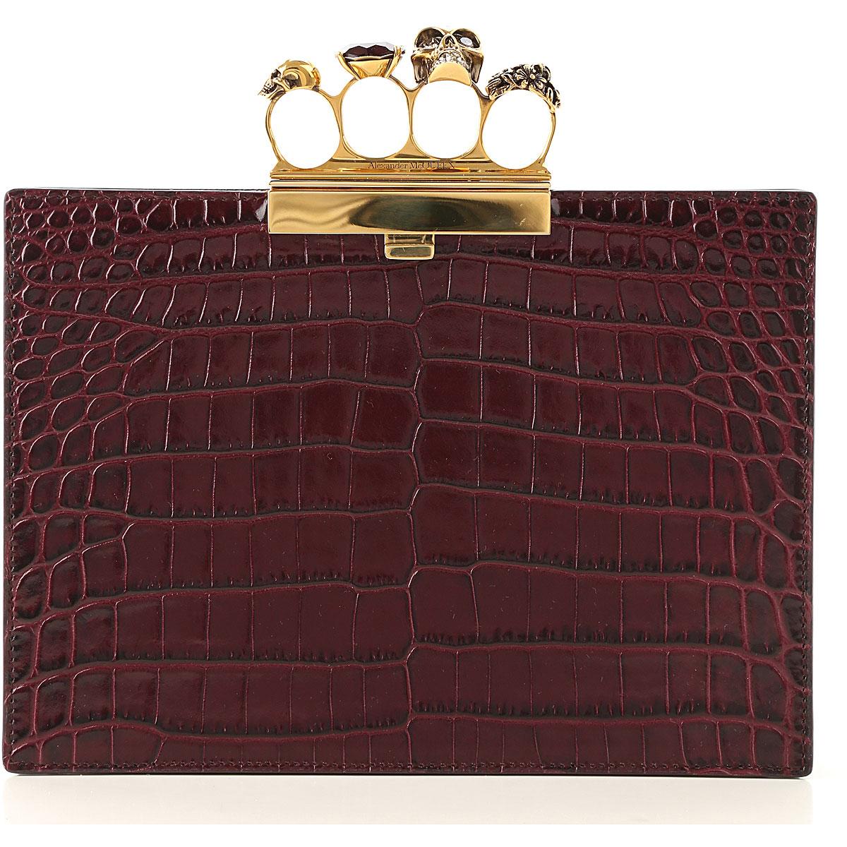 Alexander McQueen Clutch Bag, Velvet Red, Leather, 2017