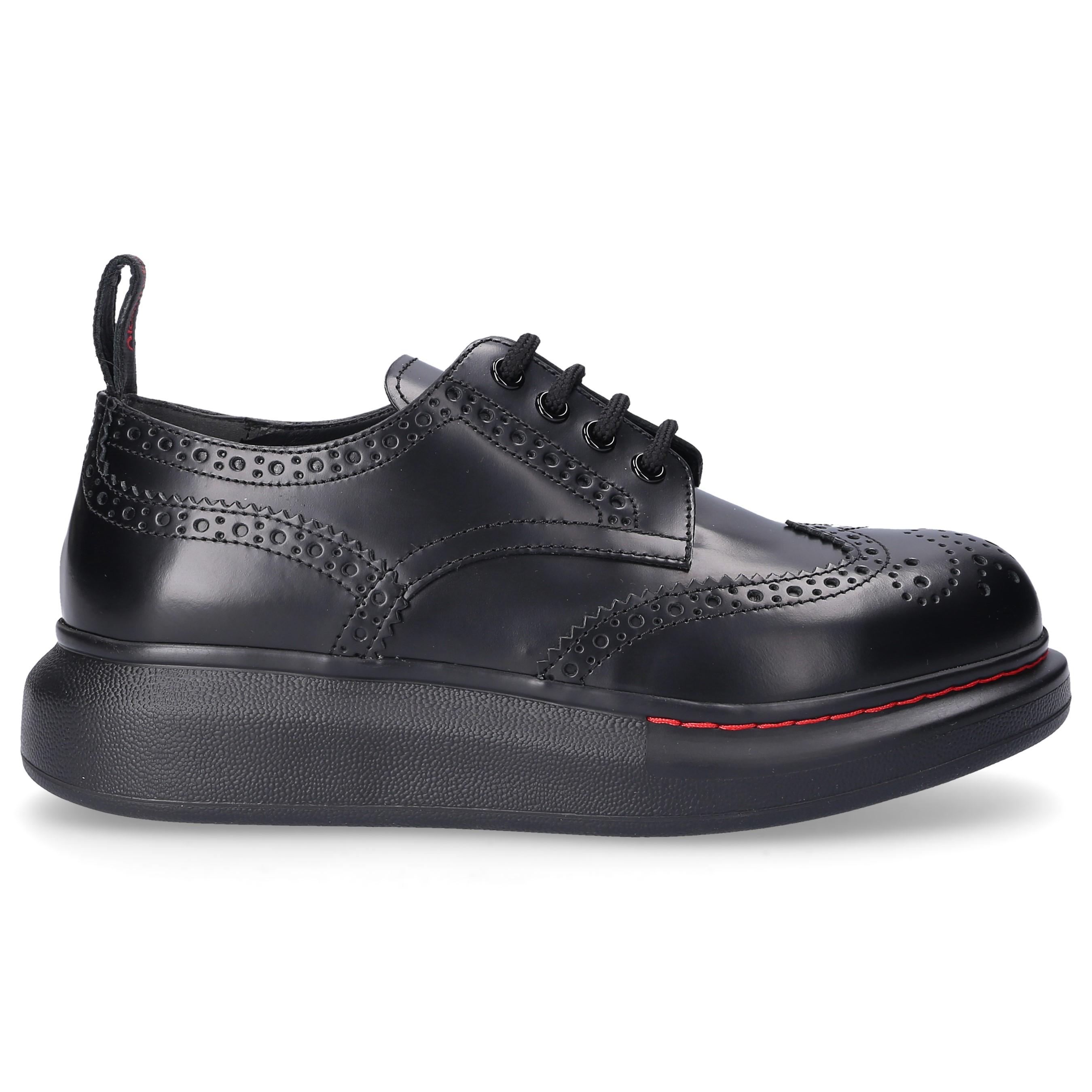 Alexander McQueen Sneaker low NEW LIQUID SPAZZOLA Kalbsleder Lochmuster Logo schwarz
