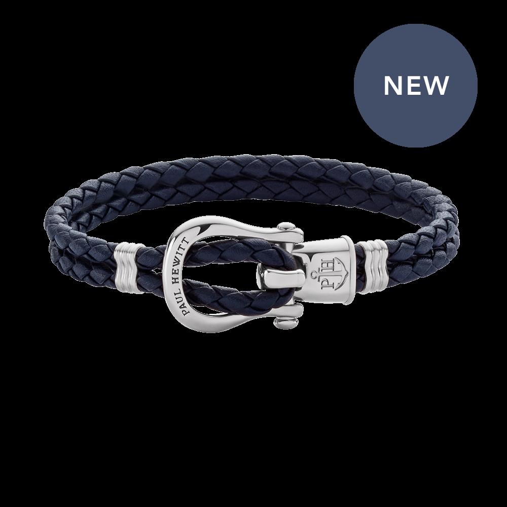 Armband Phinity Silber Leder Marineblau