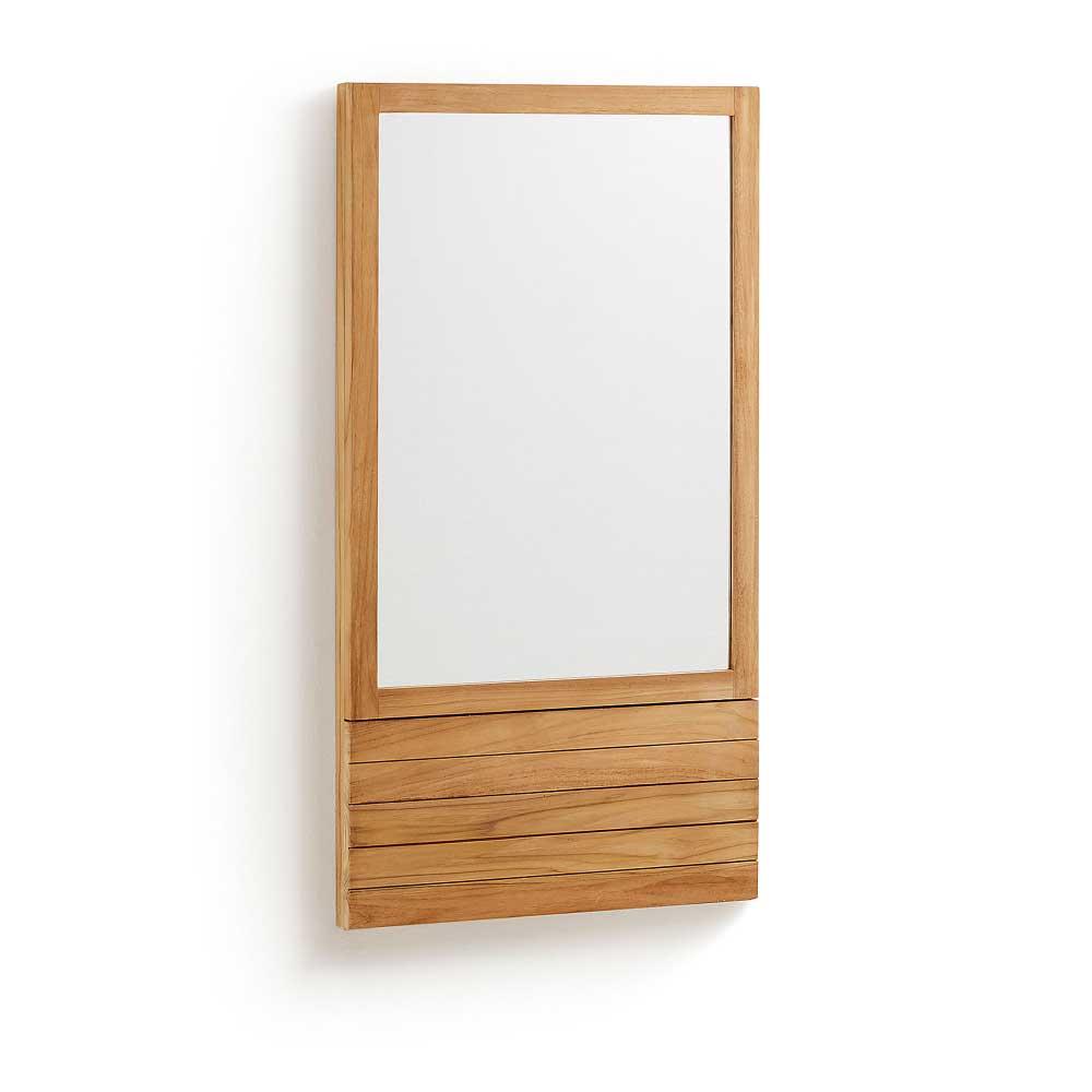 Bad Wandspiegel aus Teak Massivholz 60 cm breit