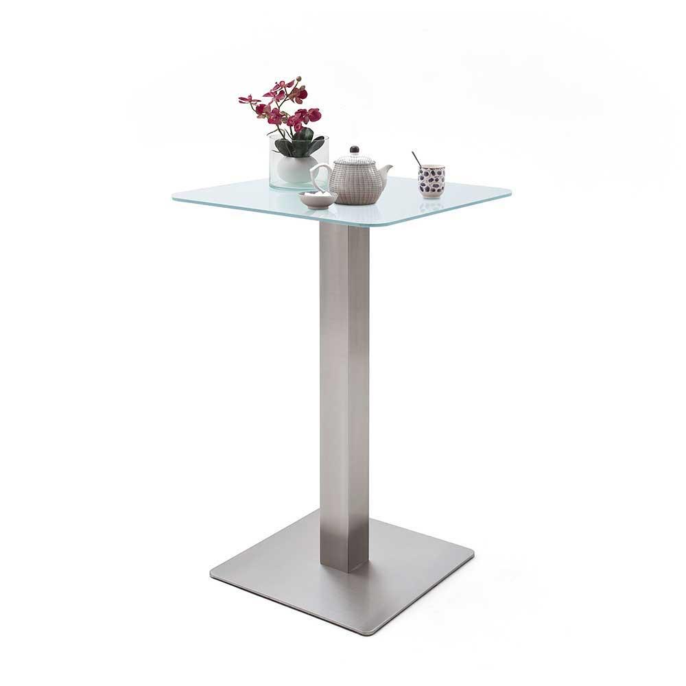 Bartisch mit Glasplatte in Weiß Edelstahl