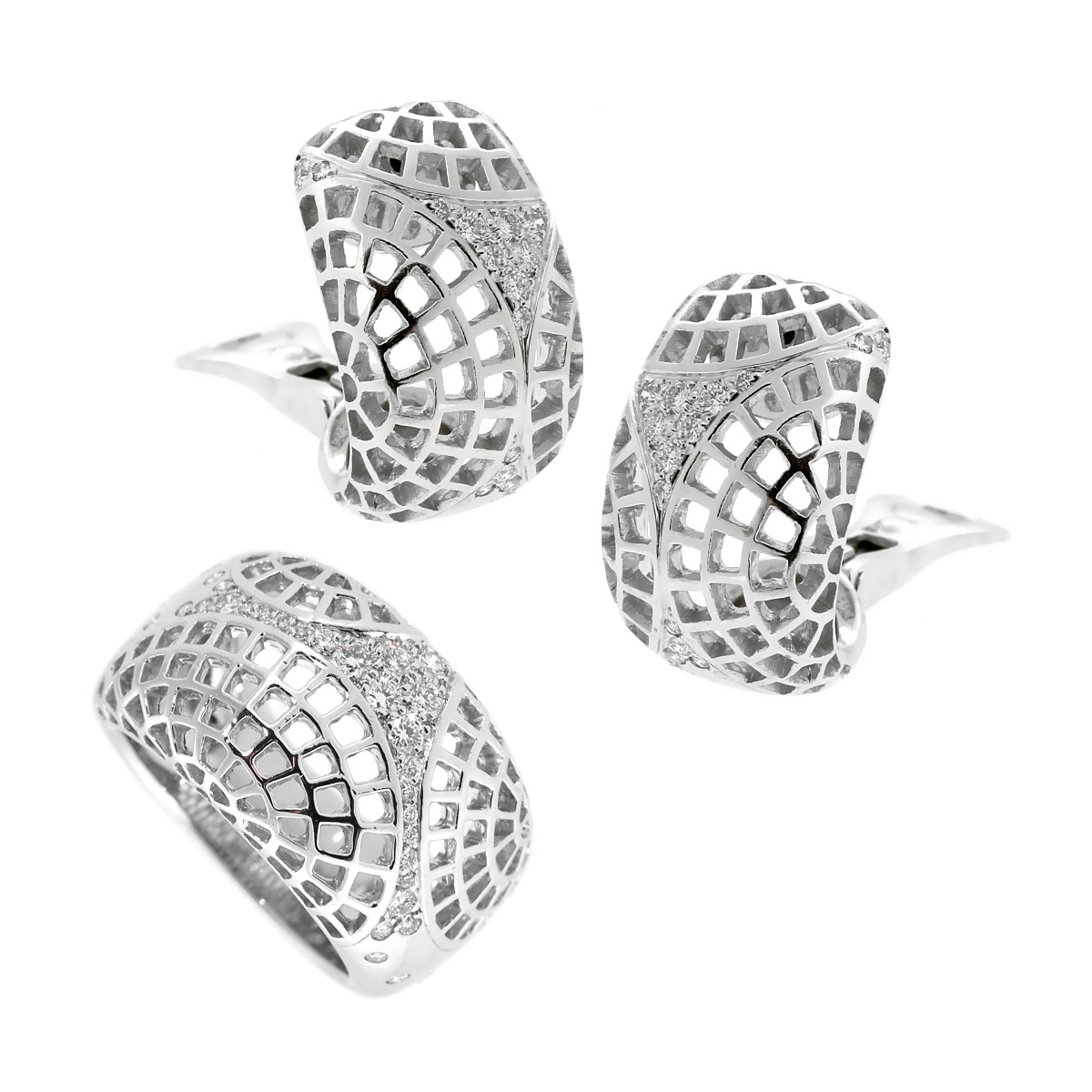 Cartier Nouvelle Vague Diamond 18k White Gold Set