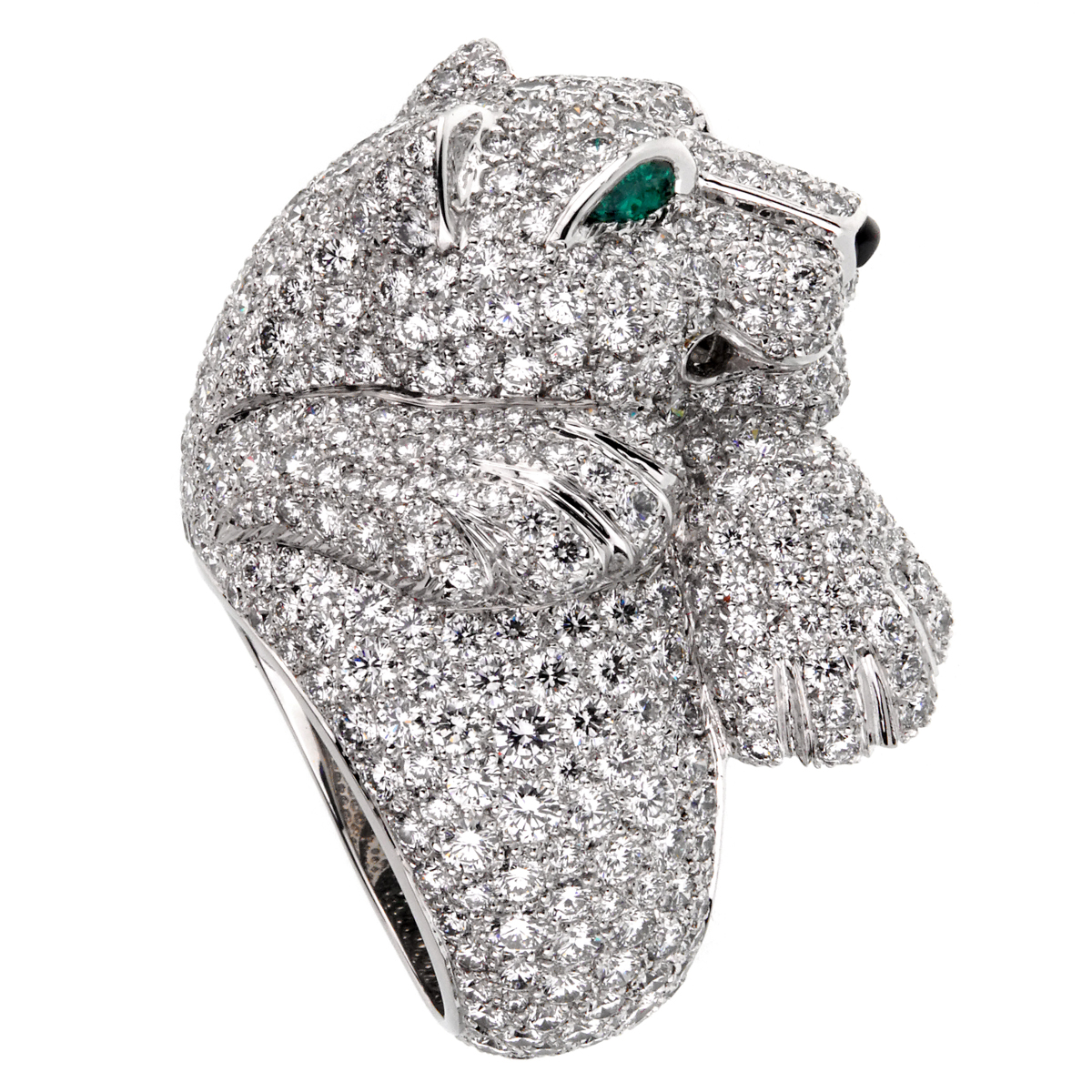 Cartier Panthere Pave Diamond Emerald White Gold Ring