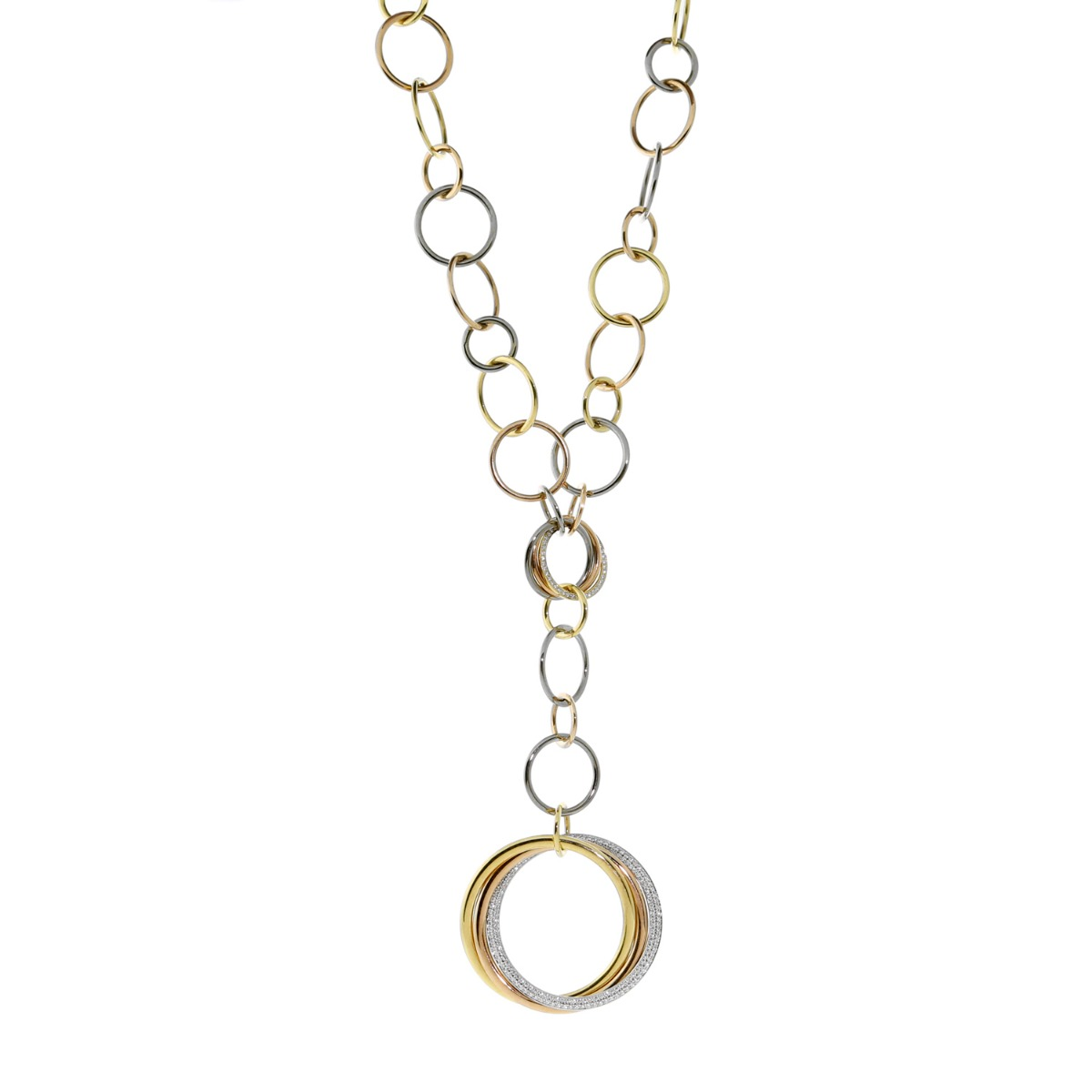 Cartier Trinity Diamond Gold Necklace