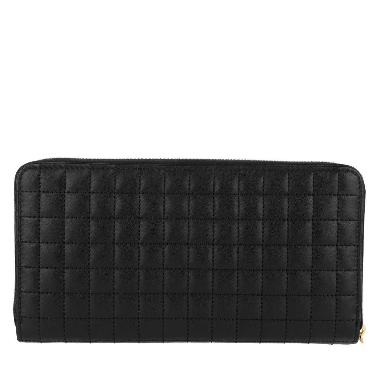 Celine Portemonnaie - C Charm Zipped Wallet Large Quilted Leather Black - in schwarz - für Damen
