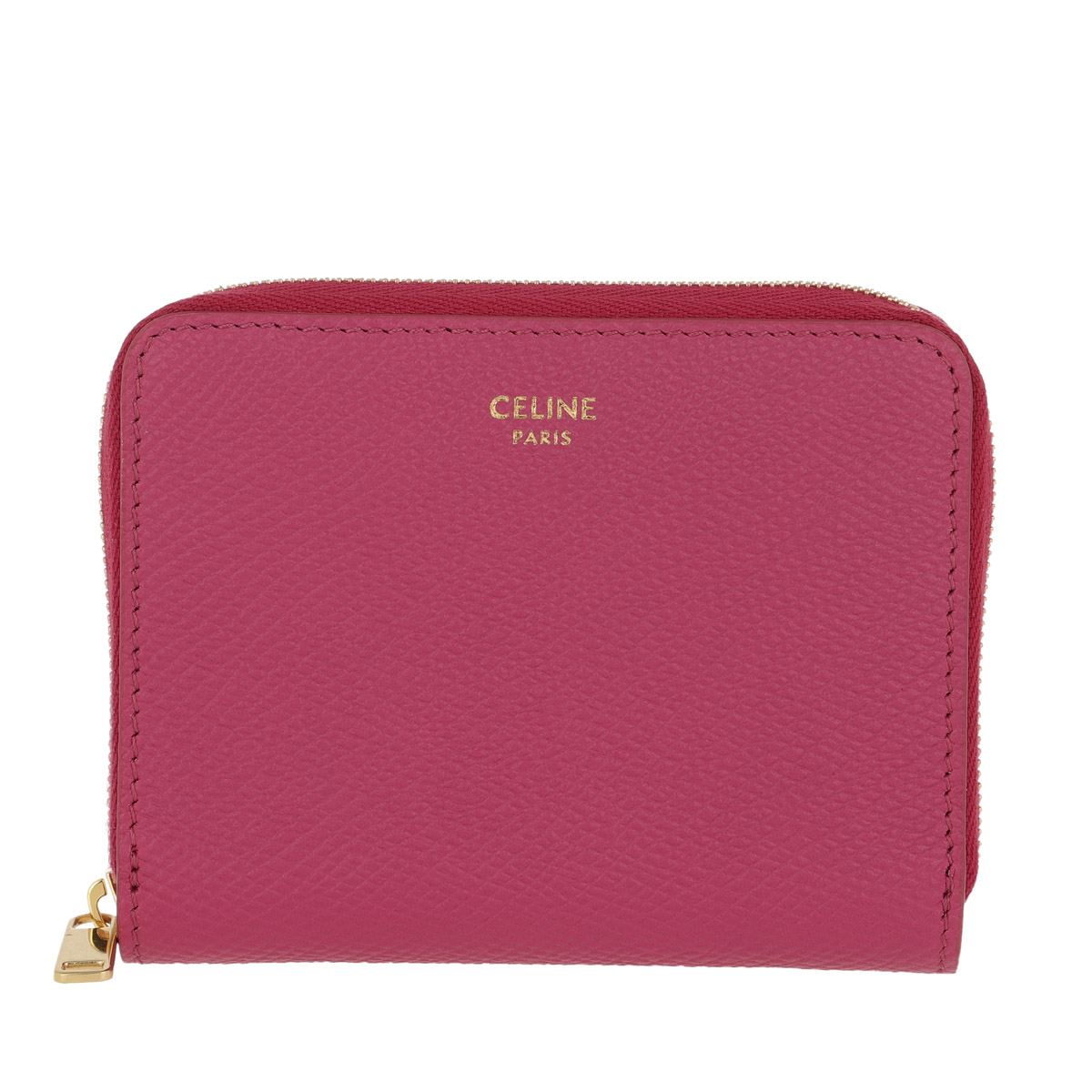 Celine Portemonnaie - Compact Zipped Wallet Grained Leather Pink - in pink - für Damen