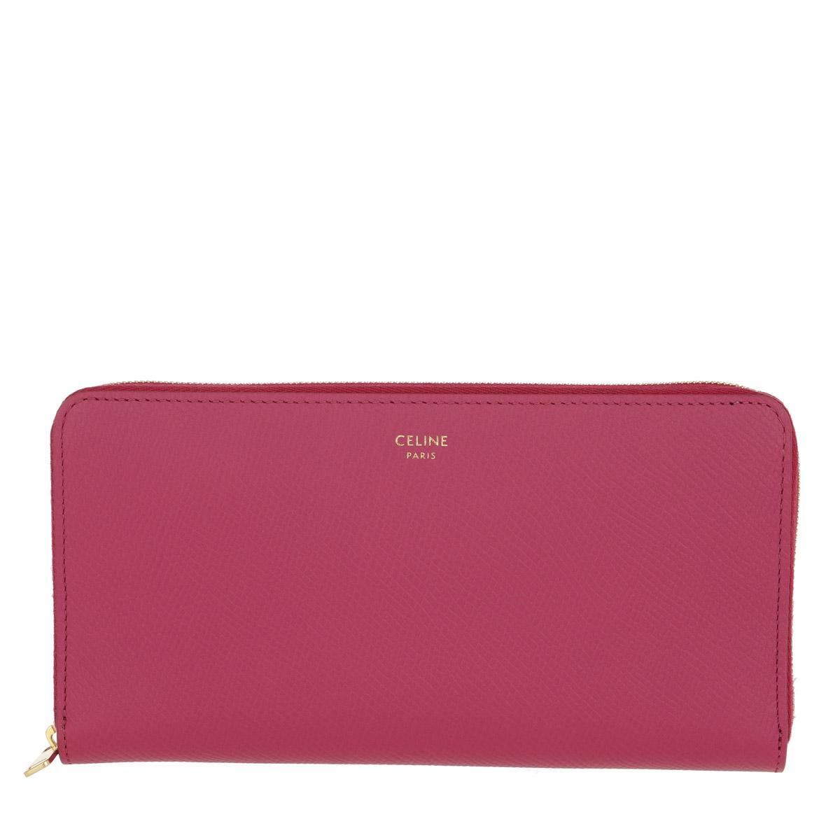 Celine Portemonnaie - Large Zipped Wallet Grained Calfskin Pink - in pink - für Damen