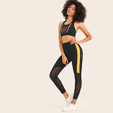Contrast Mesh Panel Skinny Leggings
