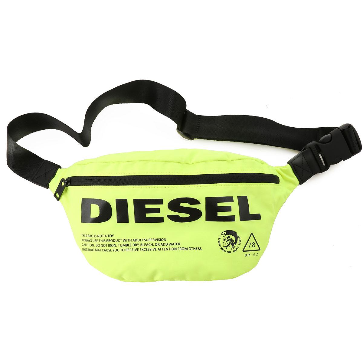 Diesel Weekender Duffel Bag for Men, Acid Yellow Fluo, polyamide, 2017