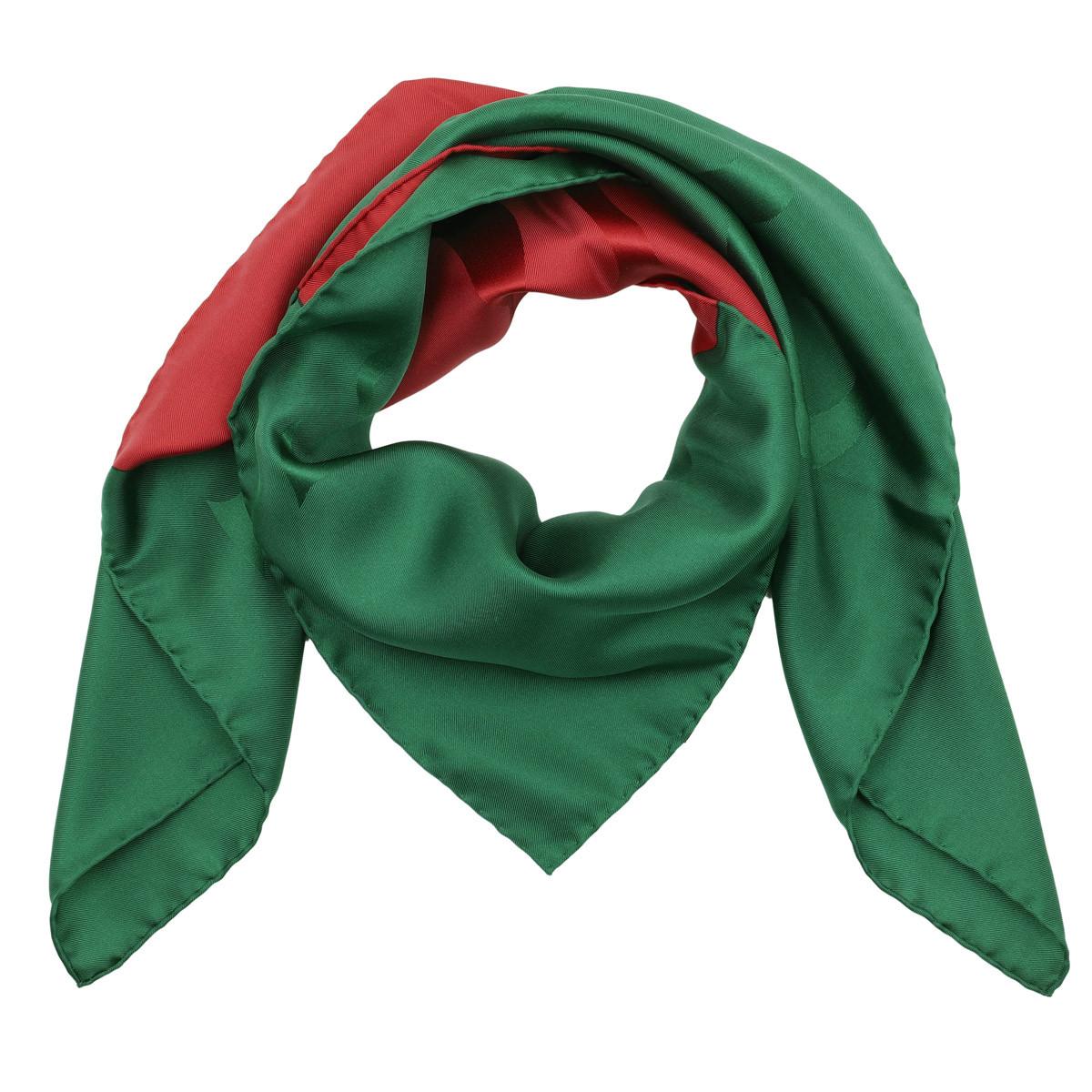 Gucci Accessoire - Web Motif Scarf Silk Green/Red - in grün - für Damen