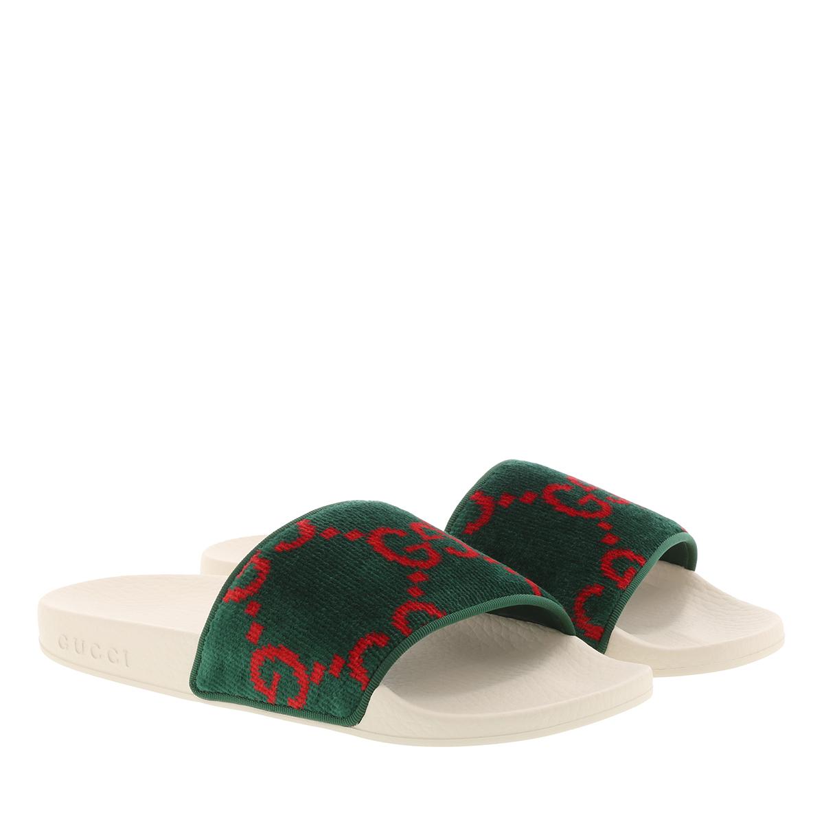 more photos 0e228 12ff1 Gucci Schuhe - GG Slides White/Green - in grün - für Damen