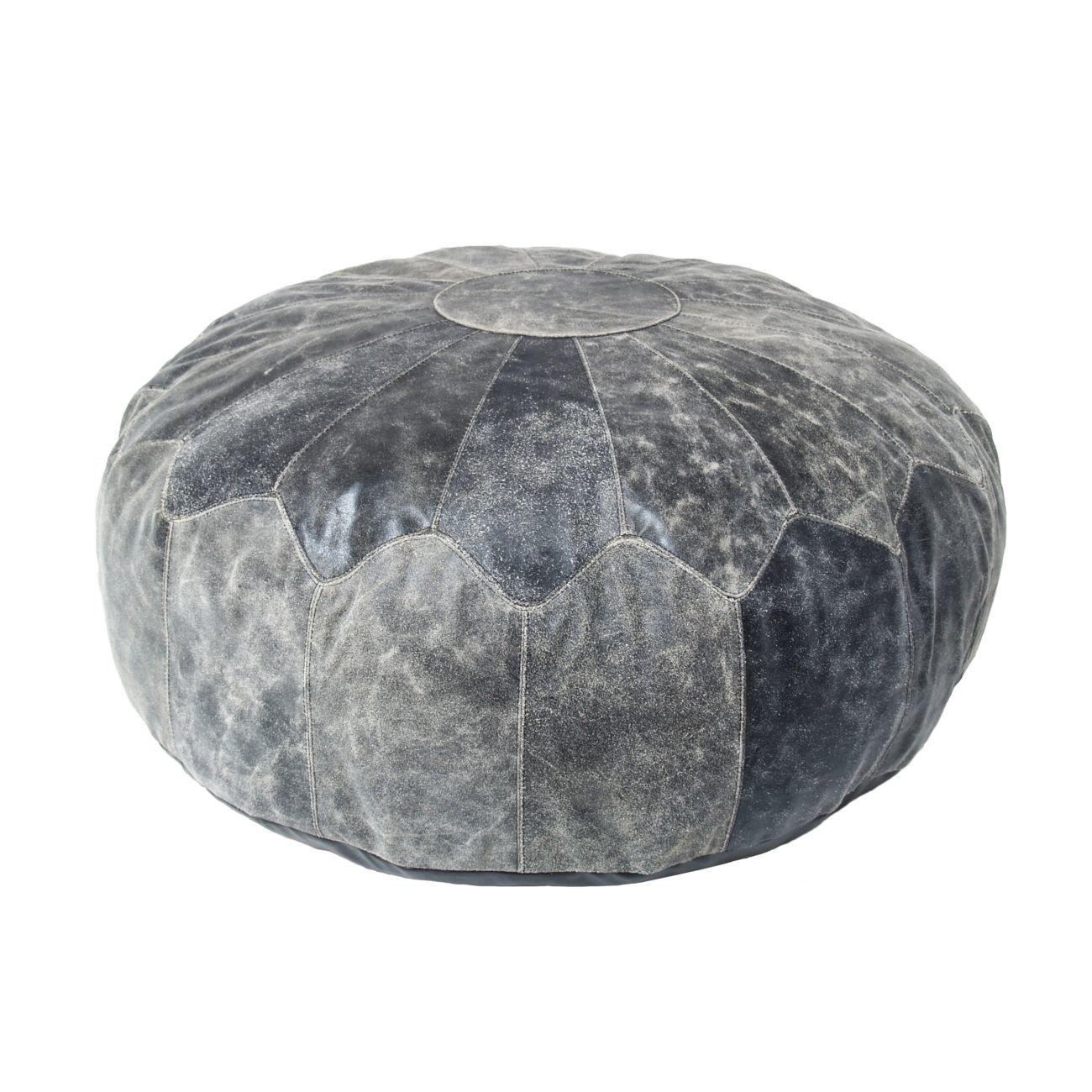HK living Pouf Used Leather Hocker