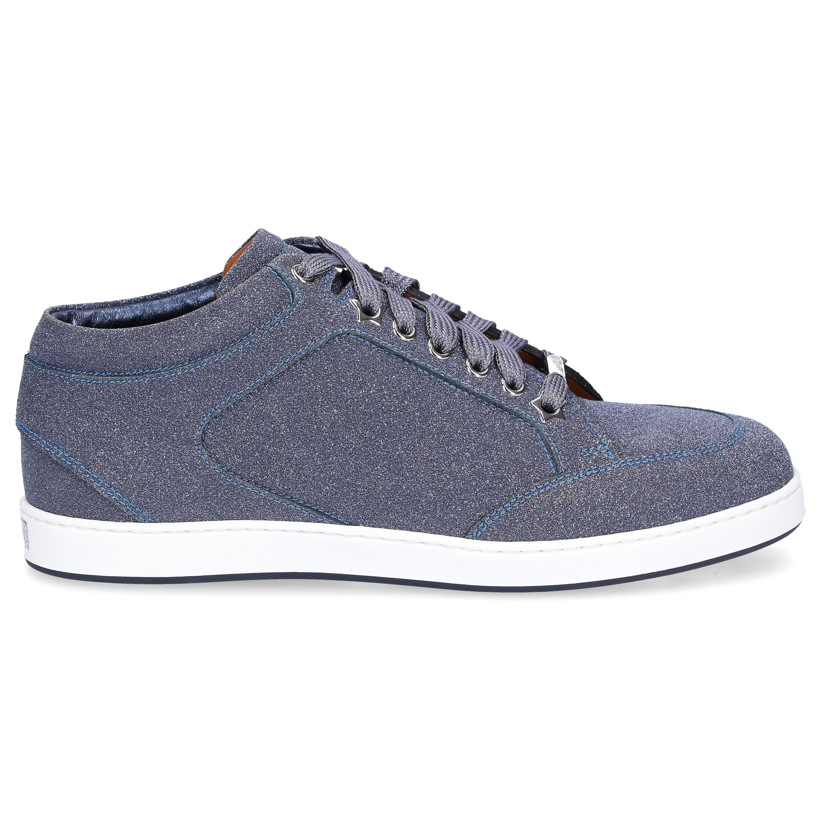 Jimmy Choo Sneaker MIAMI Kalbsleder Glitzer Kontrastnaht Logo blau