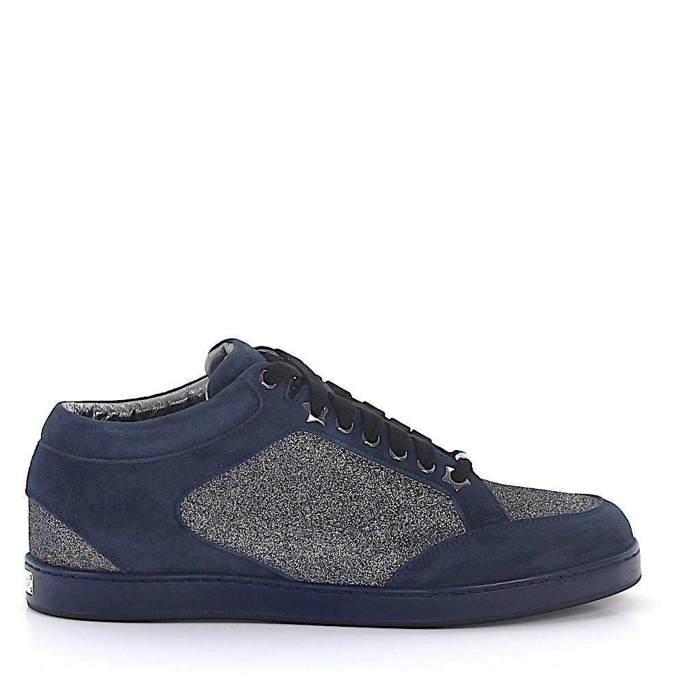 Jimmy Choo Sneaker Miami Veloursleder blau Stoff Glitzer silber