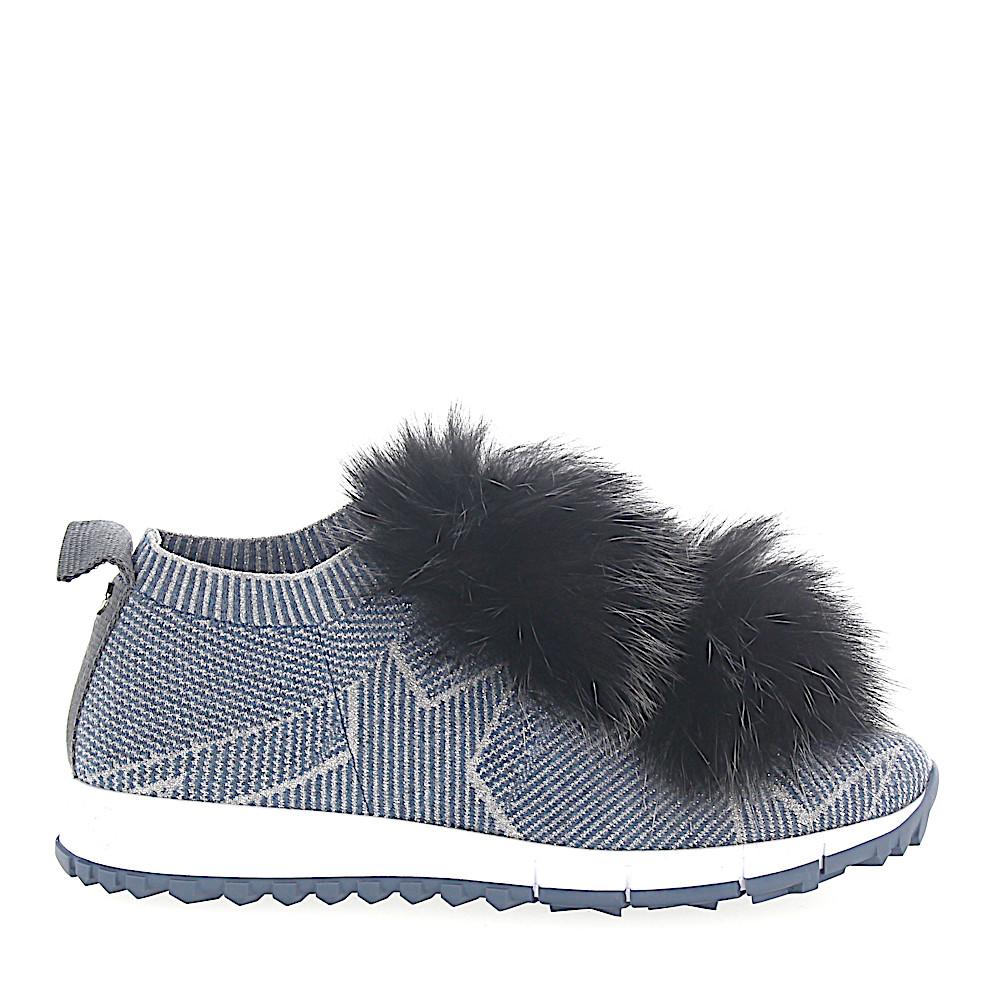 Jimmy Choo Sneaker NORWAY Stoff blau silber Sternenprint Pompons Fuchsfell schwarz