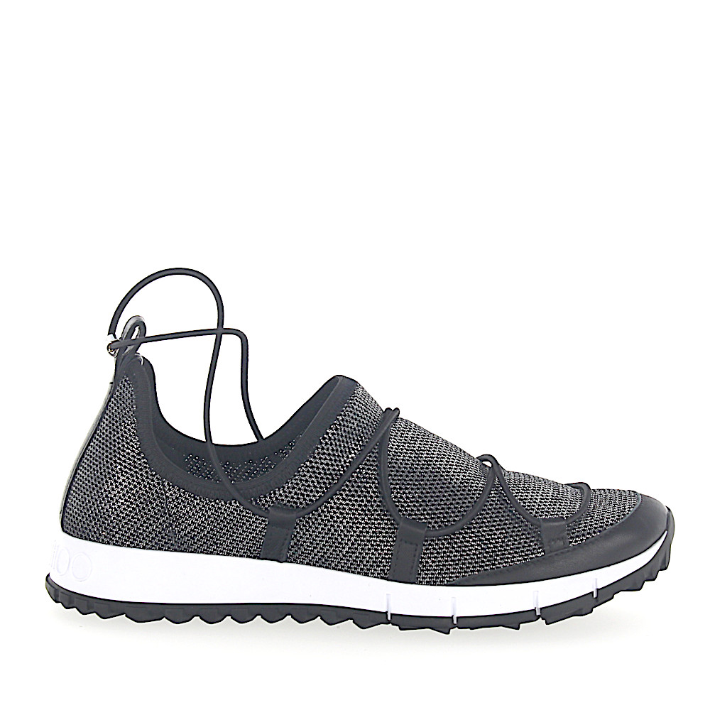 Jimmy Choo Sneaker Slip On ANDREA Mesh schwarz silber metallic