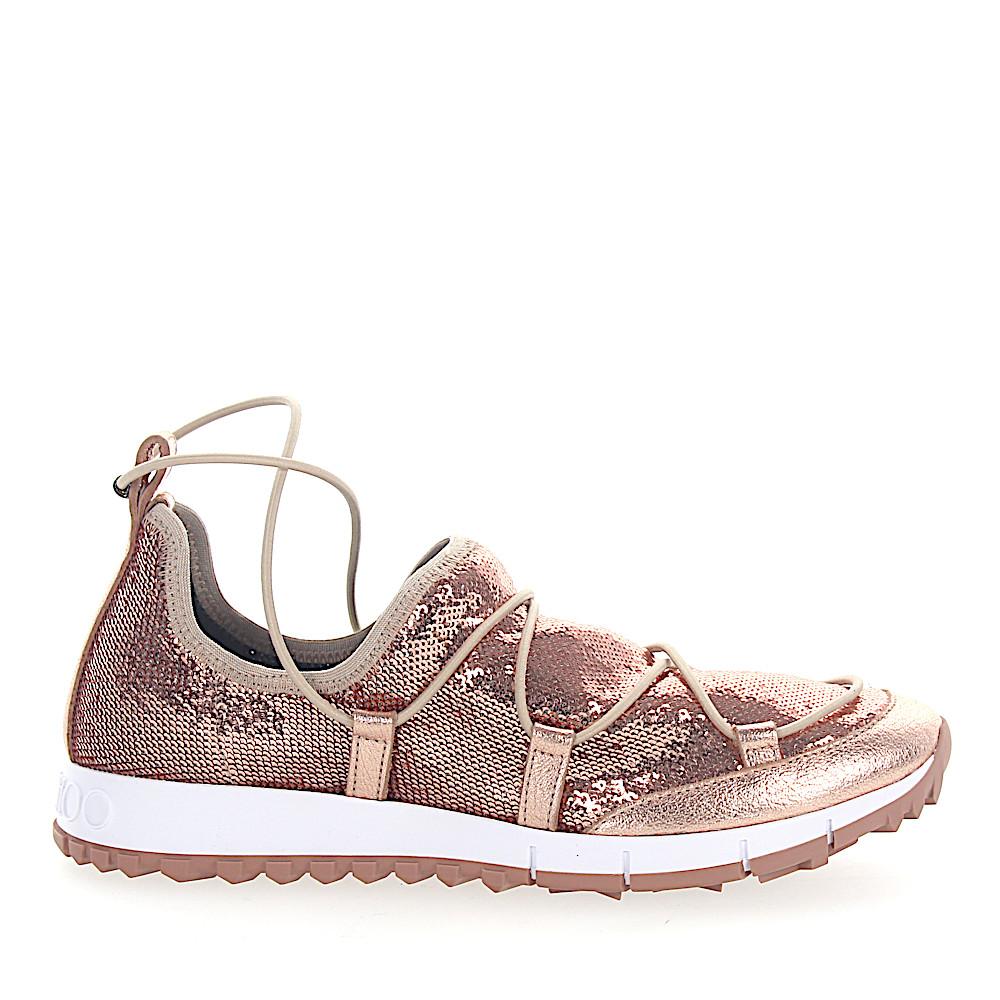 Jimmy Choo Sneaker Slip-On ANDREA Pailletten Mesh rosè Leder metallic