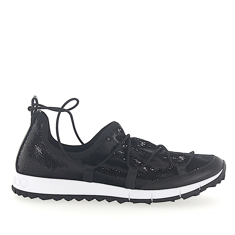 Jimmy Choo Sneaker Slip On ANDREA Pailletten Mesh schwarz Leder