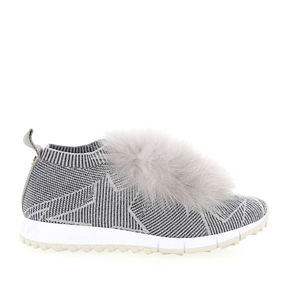 Jimmy Choo Sneaker Slip-On NORWAY Fell Nylon Logo silber