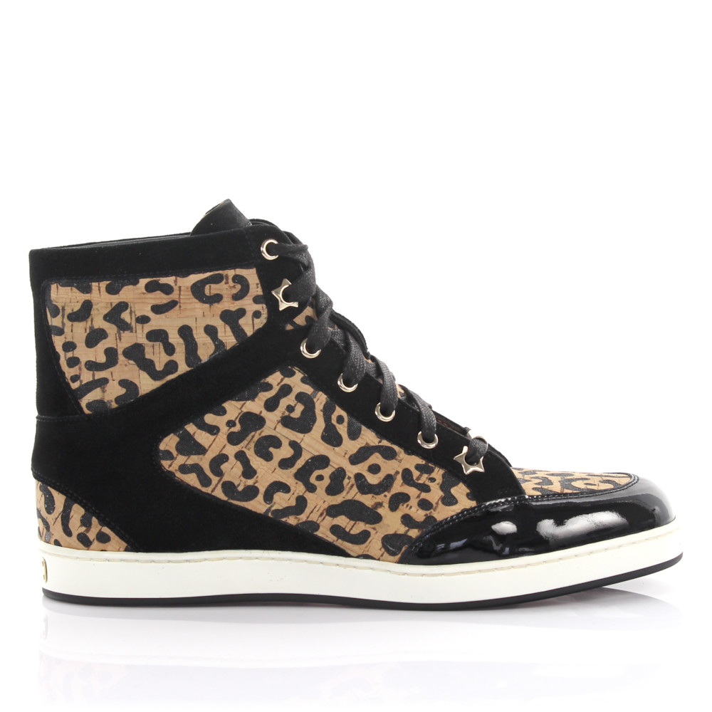 Jimmy Choo Sneaker high Kalbsleder Kork Lackleder Mesh Veloursleder Leo Print leopard schwarz
