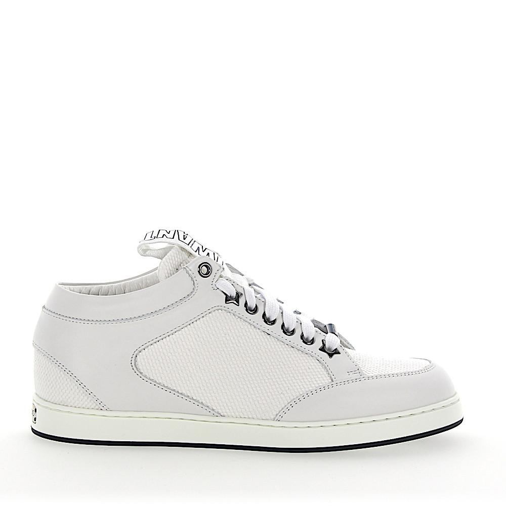 Jimmy Choo Sneaker low Kalbsleder Textil Logo weiß