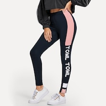Letter Print Colorblock Leggings