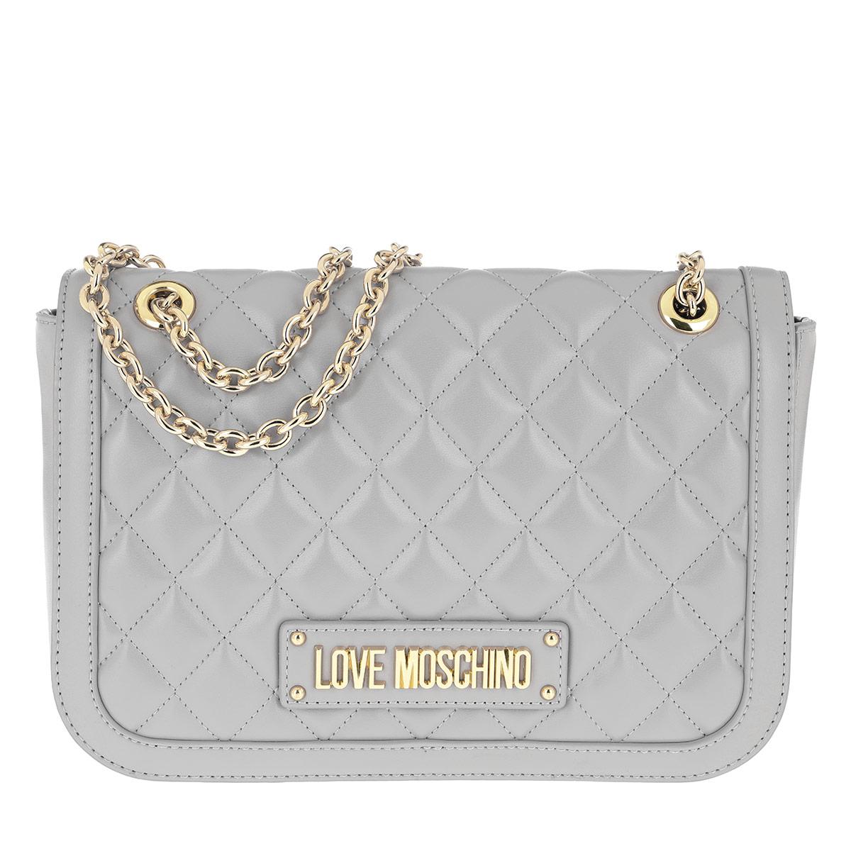 Love Moschino Satchel Bag - Quilted Chain Shoulder Bag Grey - in grau - für Damen