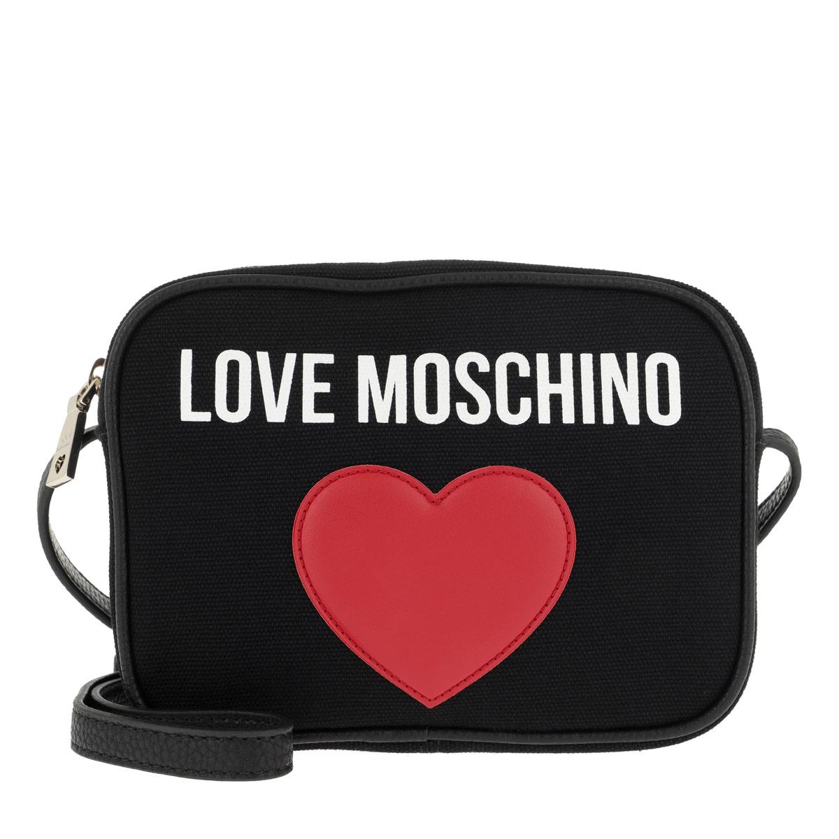 Love Moschino Umhängetasche - Canvas+Pebble Pu Crossbody Bag Nero - in schwarz - für Damen