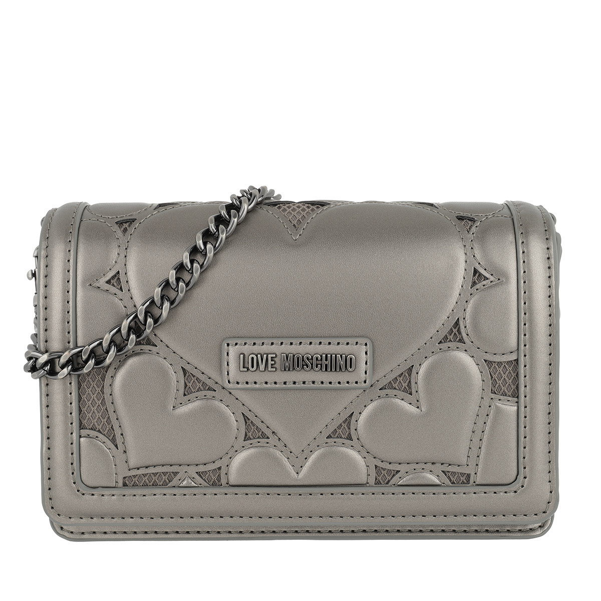 Love Moschino Umhängetasche - Embossed Lamb Crossbody Bag Peltro - in grau - für Damen