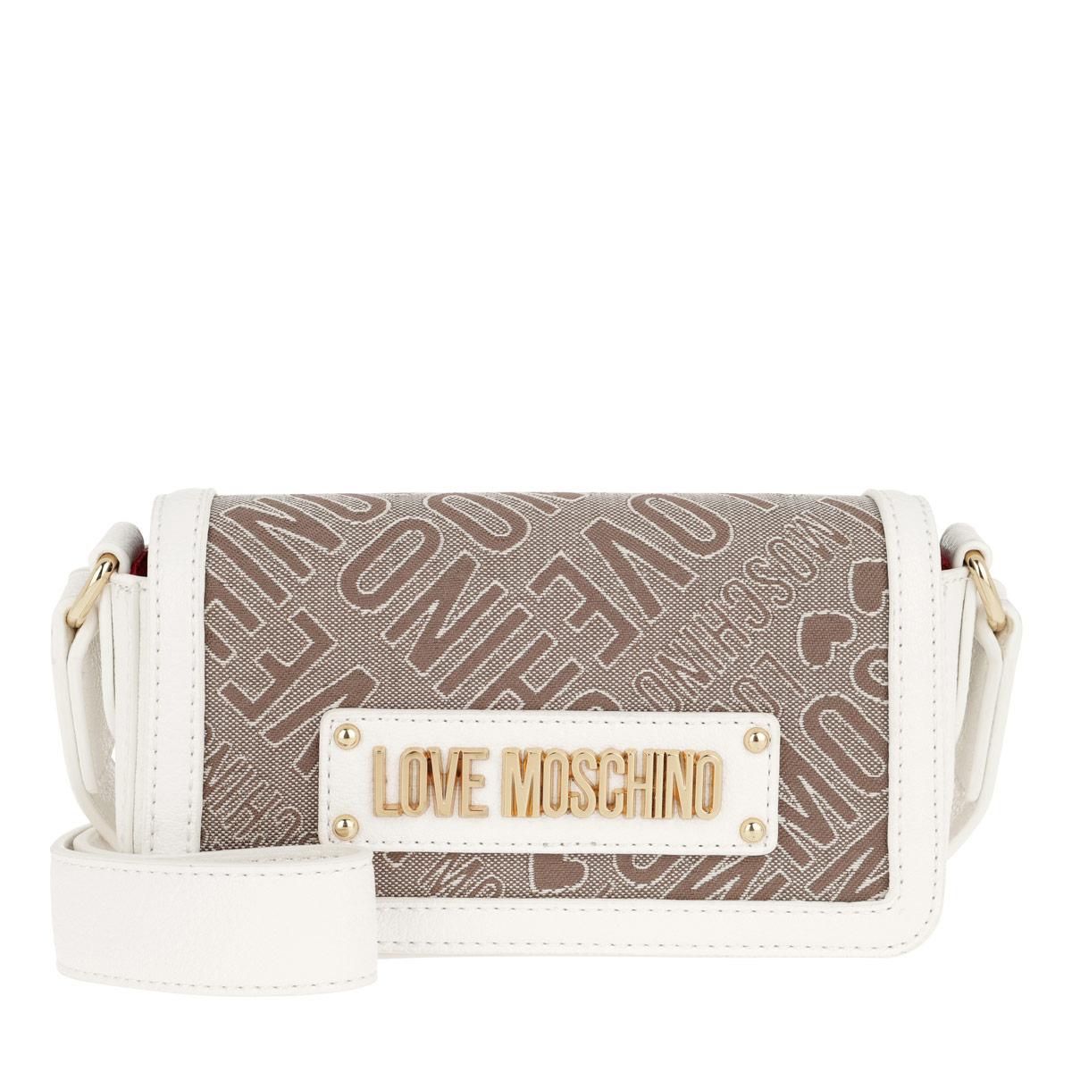 Love Moschino Umhängetasche - Jacquard Crossbody Bag Naturale/Bianco - in weiß - für Damen