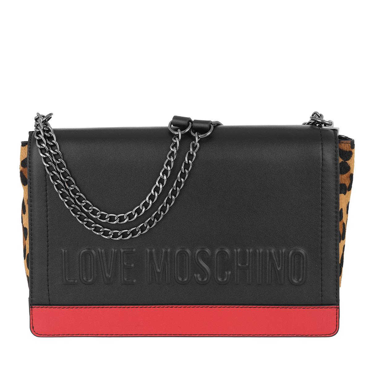 Love Moschino Umhängetasche - Leopard Crossbody Bag Nero/Rosso - in schwarz - für Damen