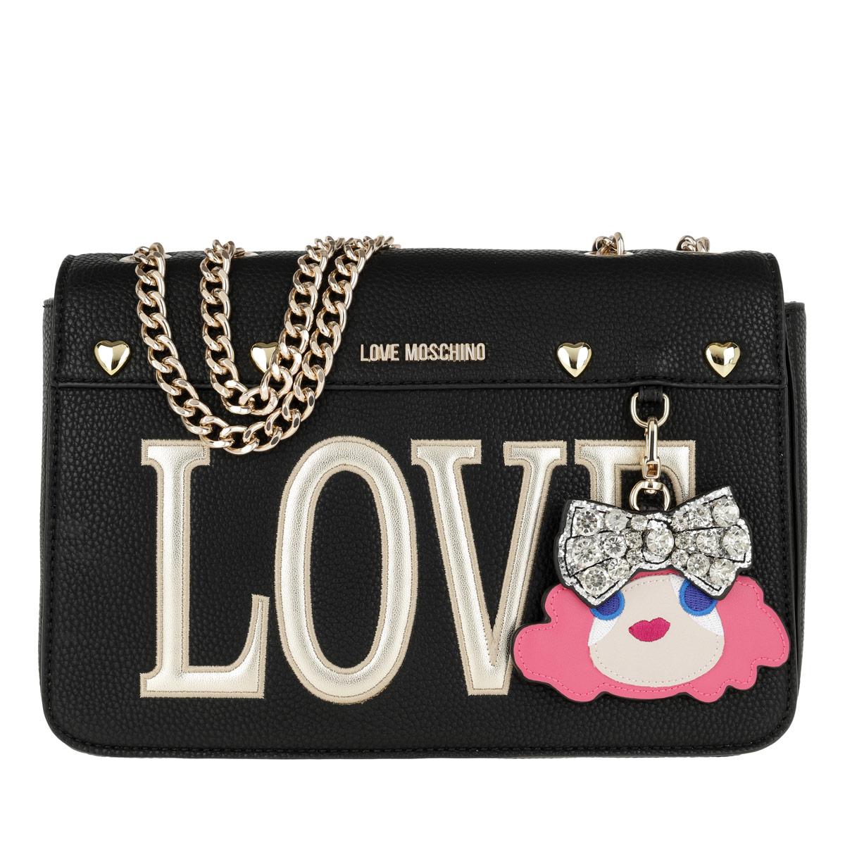 Love Moschino Umhängetasche - Pebble Pu Chain Crossbody Bag Nero - in schwarz - für Damen