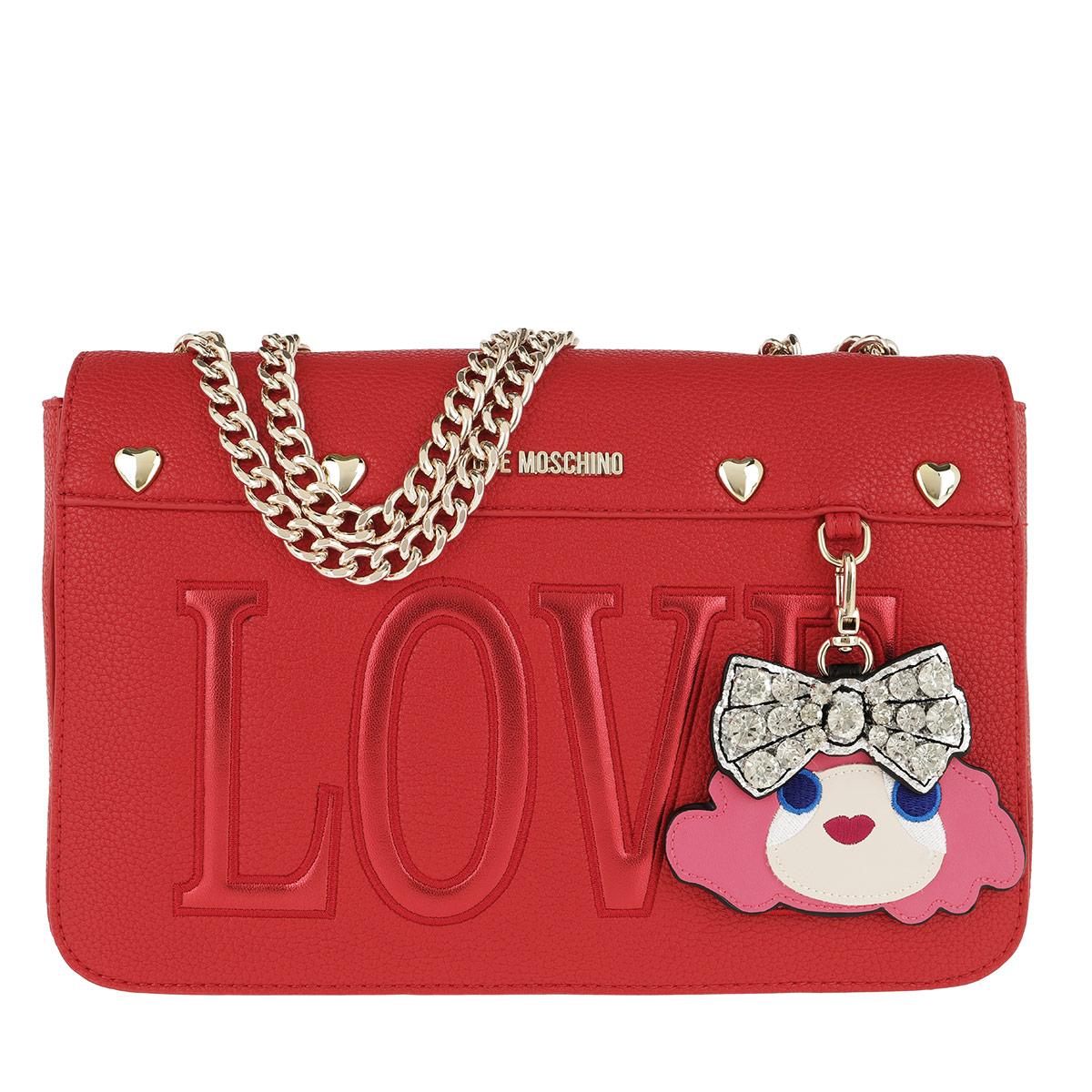 Love Moschino Umhängetasche - Pebble Pu Chain Crossbody Bag Rosso - in rot - für Damen