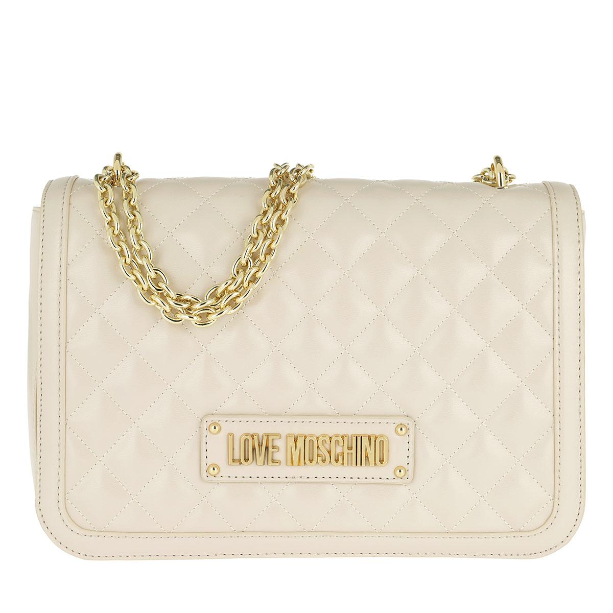 Love Moschino Umhängetasche - Quilted Nappa Pu Chain Crossbody Bag Avorio - in beige - für Damen