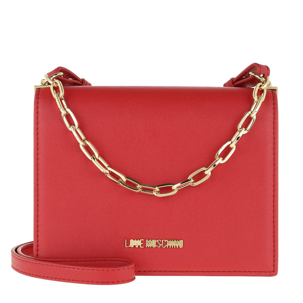 Love Moschino Umhängetasche - Smooth Pu Chain Crossbody Bag Rosso - in rot - für Damen