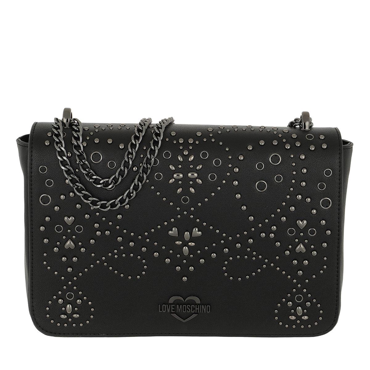 Love Moschino Umhängetasche - Studded Shoulder Bag Black/Silver - in schwarz - für Damen