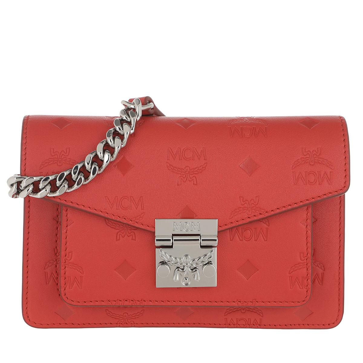 MCM Gürteltasche - Patricia Monogrammed Leather Belt Bag Xmini Viva Red - in rot - für Damen