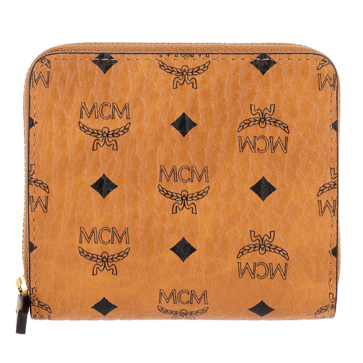 MCM Portemonnaie - Visetos Original Zip Wallet Mini Cognac - in cognac - für Damen