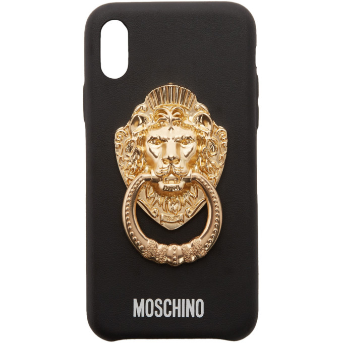 Moschino Black Lion Head Handle iPhone XS Case